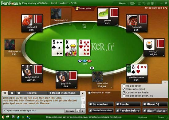 table de poker sur party